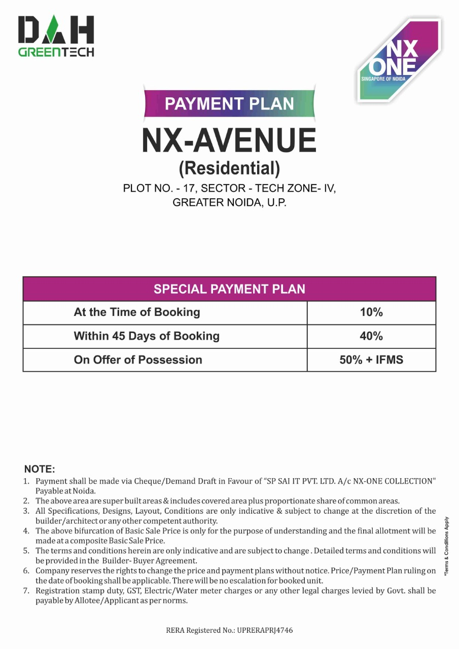 nx one residential apartments payment plan