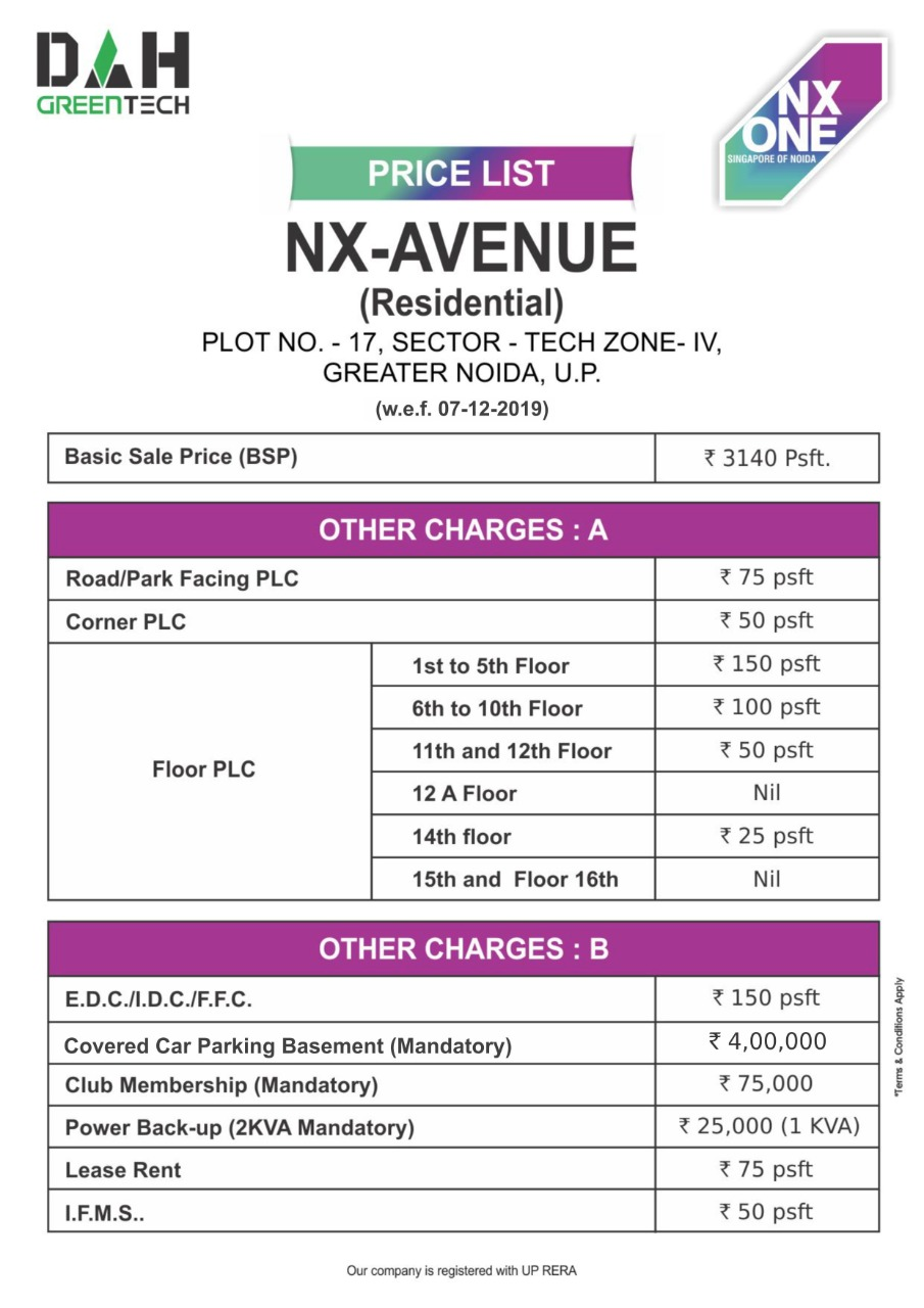 nx one residential apartments price list