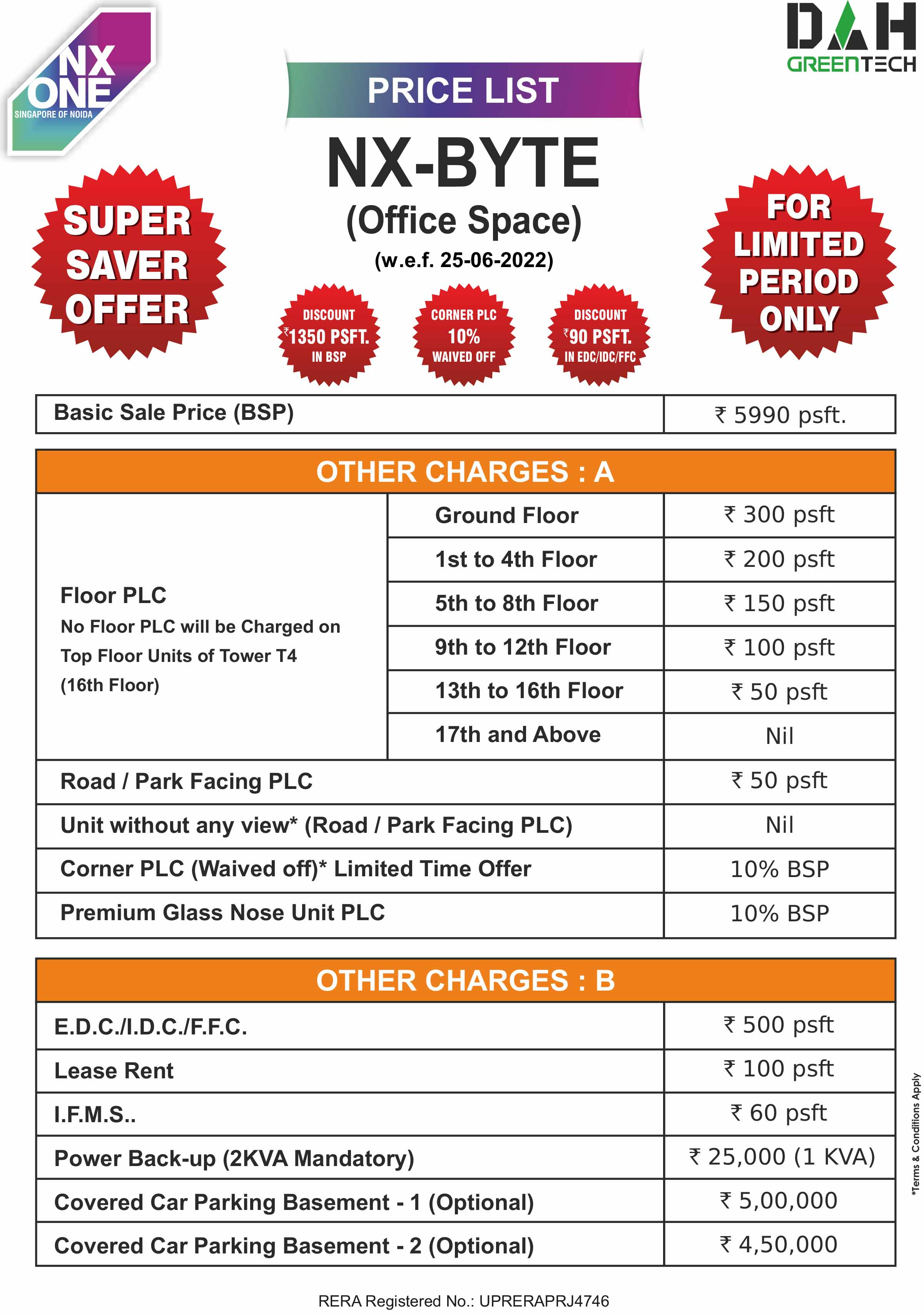 nx one office spaces price list
