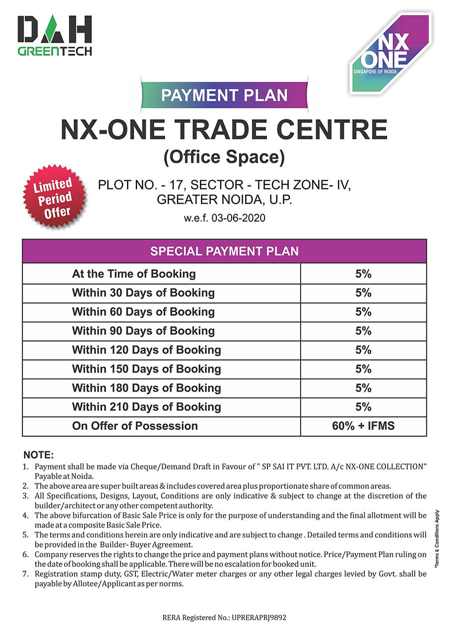 NX One Trade Center Office Spaces Payment Plan